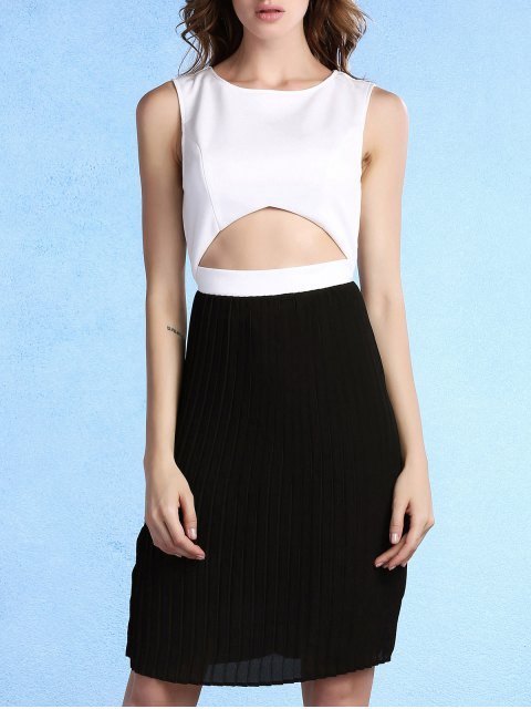 buy Pleated Color Block Round Neck Sleeveless Dress - WHITE AND BLACK 2XL Mobile