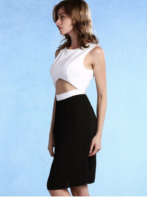 affordable Pleated Color Block Round Neck Sleeveless Dress - WHITE AND BLACK XL Mobile