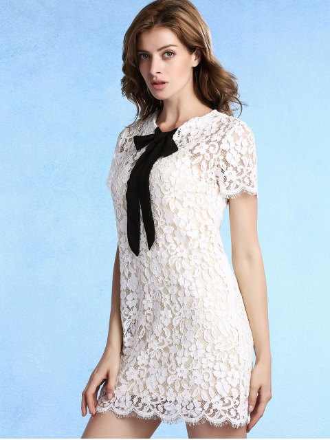ladies Bow Tie Short Sleeve Lace Dress with Cami Dress Twinset - WHITE XL Mobile