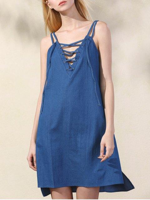 unique Lace Up Spaghetti Straps Chambray Dress - BLUE XL Mobile