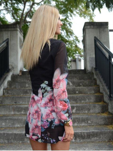 women Printed Chiffon Long Sleeves Round Neck Dress - BLACK L Mobile