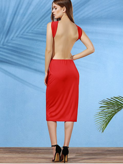 affordable Convertible Open Back Plunging Neck Sleeveless Dress - DEEP RED S Mobile