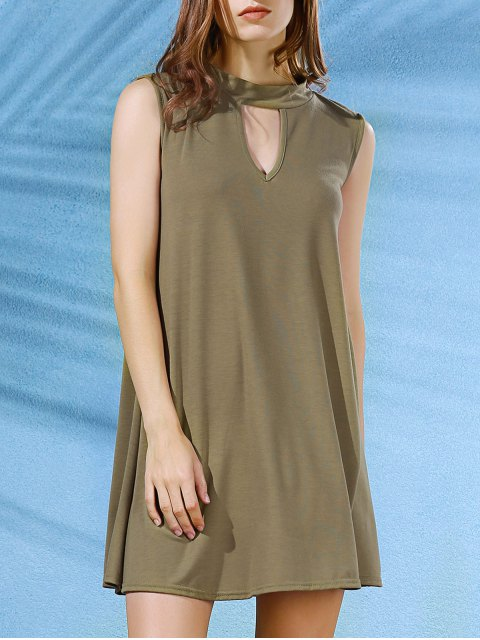 buy Sleeveless Swing Dress - ARMY GREEN M Mobile