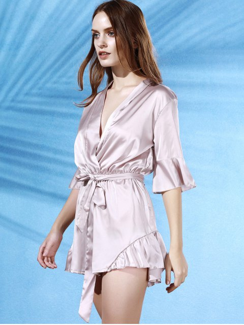fancy Flouncing Spliced V-Neck Butterfly Sleeve Wrap Romper - APRICOT XL Mobile
