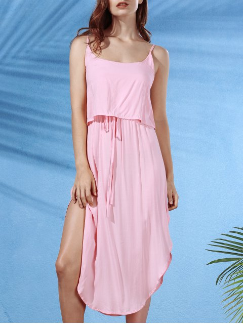 trendy Irregular Hem Spaghetti Straps Drawstring Side Slit Dress - SHALLOW PINK L Mobile