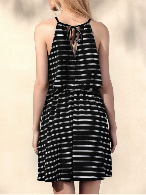 latest Striped Round Collar Waisted Dress - BLACK L Mobile