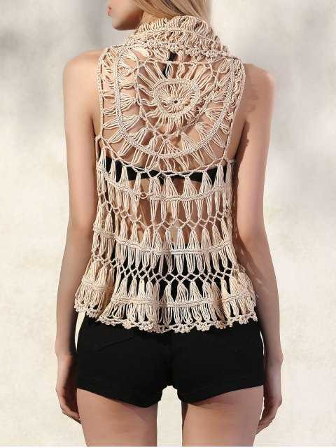 affordable Lapel Openwork Crochet Waistcoat - APRICOT ONE SIZE(FIT SIZE XS TO M) Mobile