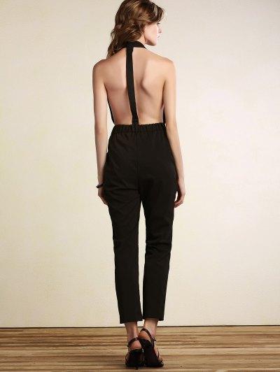 Plunging Neck Open Back Jumpsuit - BLACK XL Mobile