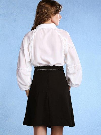 Black High Waisted Pockets A Line Skirt - BLACK 2XL Mobile
