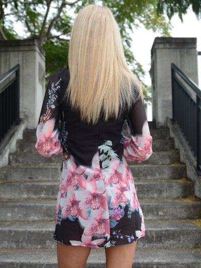 Printed Chiffon Long Sleeves Round Neck Dress - BLACK L Mobile