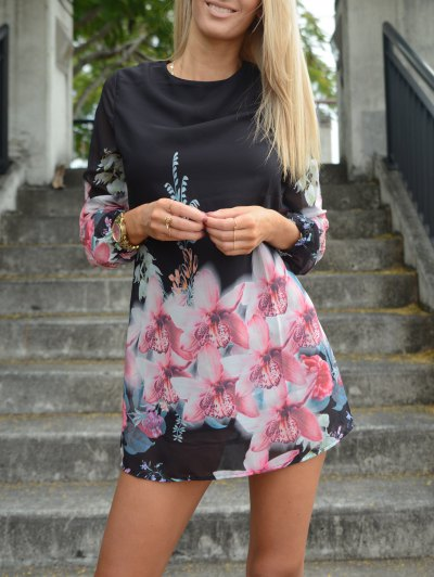 Printed Chiffon Long Sleeves Round Neck Dress - BLACK M Mobile