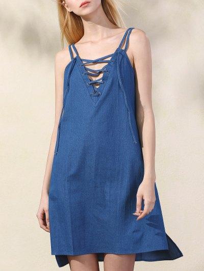 Lace Up Spaghetti Straps Chambray Dress - Blue