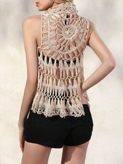 Lapel Openwork Crochet Waistcoat - APRICOT ONE SIZE(FIT SIZE XS TO M) Mobile