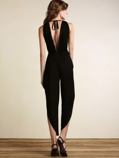 Black Plunging Neck Sleeveless Open Back Jumpsuit - BLACK XL Mobile