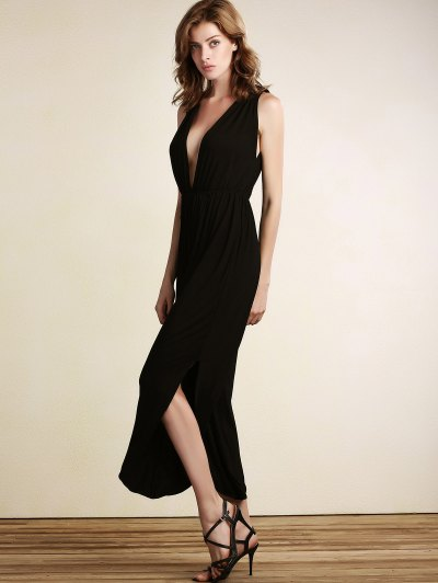 Black Plunging Neck Sleeveless Open Back Jumpsuit - BLACK L Mobile