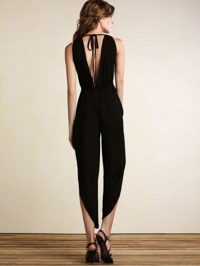 Black Plunging Neck Sleeveless Open Back Jumpsuit - BLACK S Mobile