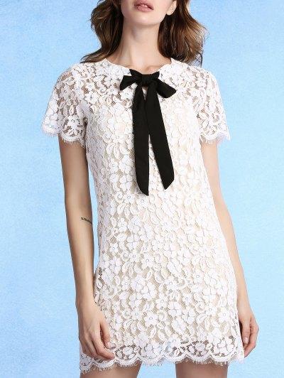 Vestido De Encaje De Manga Corta De Cuello De Pajarita Ronda - Blanco