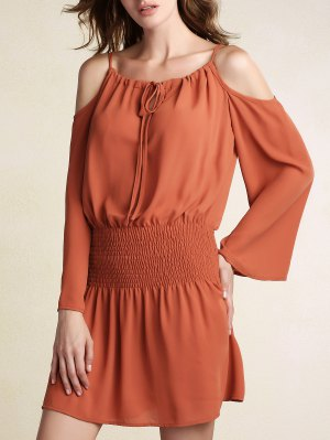 Elastic Waist Spaghetti Strap Solid Color Dress - Brick-red