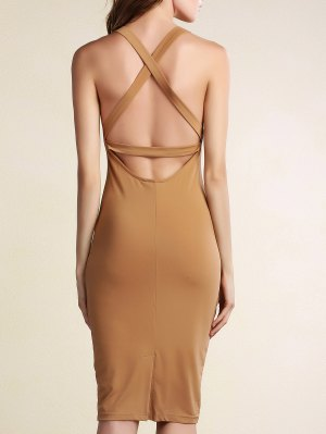 Hollow Back Sleeveless Bodycon Dress - Khaki