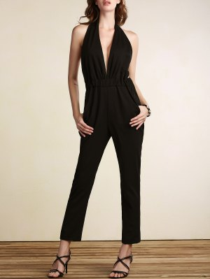 Plunging Neck Open Back Jumpsuit - Black