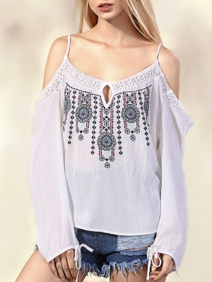 Embroidered Cold Shoulder Spaghetti Straps Long Sleeve Blouse - White