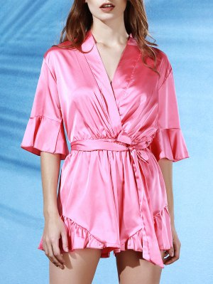 Flouncing Spliced V-Neck Butterfly Sleeve Wrap Romper - Pink