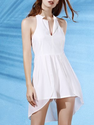 Backless Lapel Collar Spliced Solid Color Romper - White