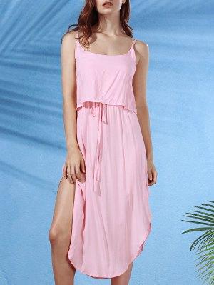 Irregular Hem Spaghetti Straps Drawstring Side Slit Dress - Shallow Pink