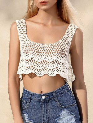 Knitted Flouncy Crop Top - White