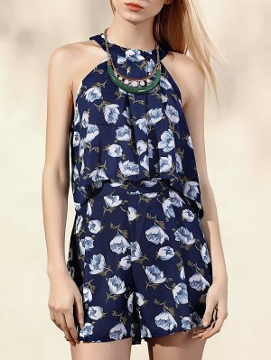 Printed Halter Top + High-Waisted Shorts - Blue