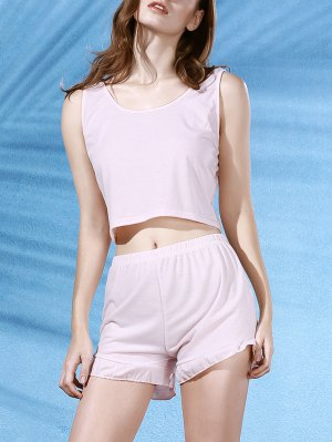 Cropped Pink Tank Top And Ruffles Shorts Suit - Light Pink