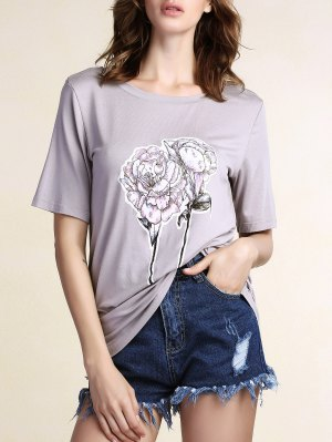 Floral Round Neck Short Sleeve Tee - Gray