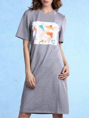 Geometric Pattern Round Neck Half Sleeve Knee Length Dress - Gray