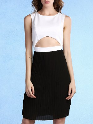 Pleated Color Block Round Neck Sleeveless Dress - White And Black