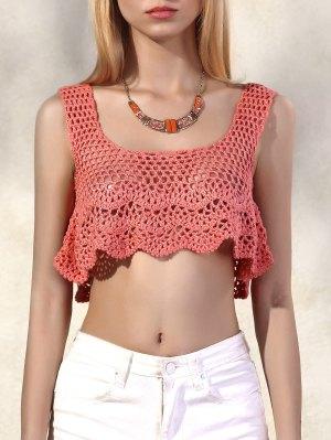 Flouncy Knitted Crop Top - Pink