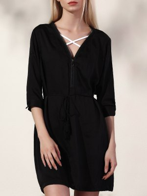 Black V Neck Half Sleeve Dress - Black