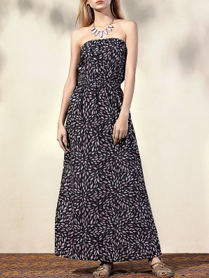 Printed Fitting Bandeau Sleeveless Maxi Dress - Black