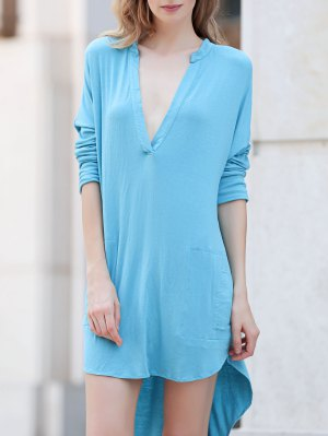 Low Cut Long Sleeve Plunge Dress - Lake Blue