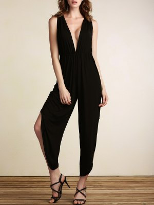 Black Plunging Neck Sleeveless Open Back Jumpsuit - Black