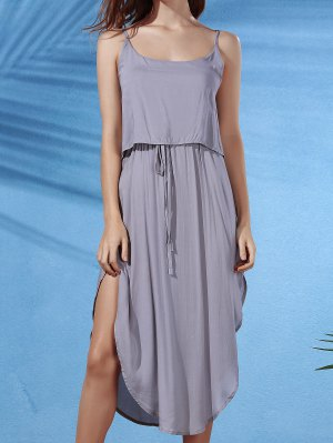 Irregular Hem Spaghetti Straps Drawstring Side Slit Dress - Gray