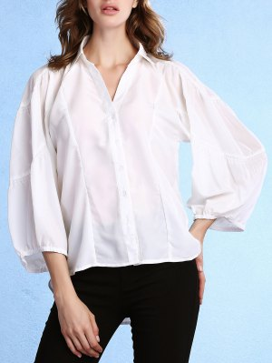 Lantern Sleeve Uneven Hem White Shirt - White