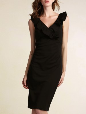 Black Flounce Ruffles Plunging Neck Work Dress - Black