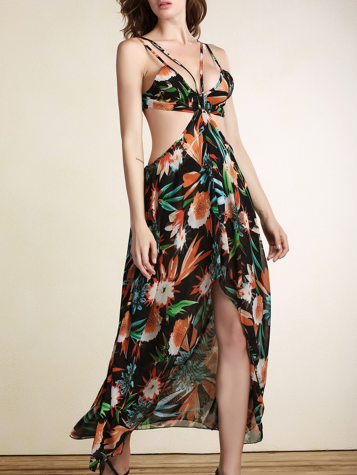 Double-Strap Printed High Low Chiffon Summer Dress