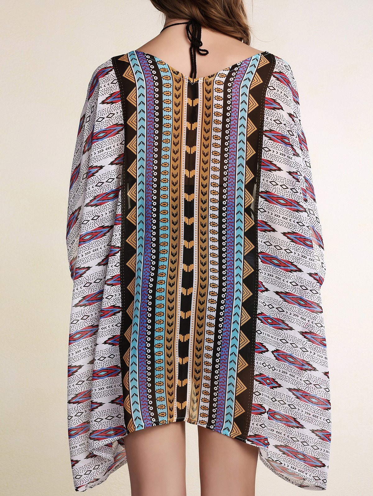Batwing Sleeve Printed Cover Up