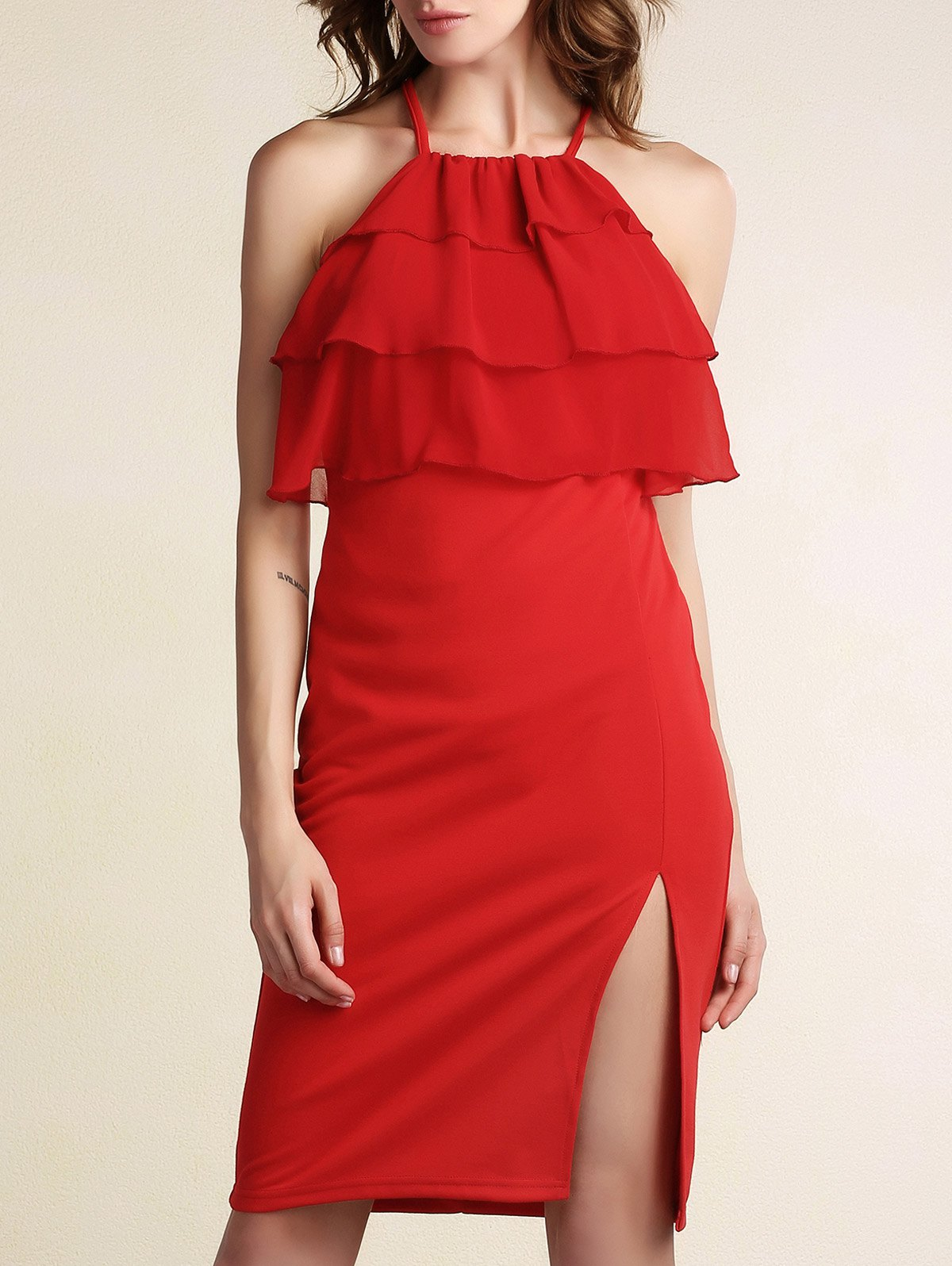 Tiered Ruffle Front Crisscross Back Red Prom Dress