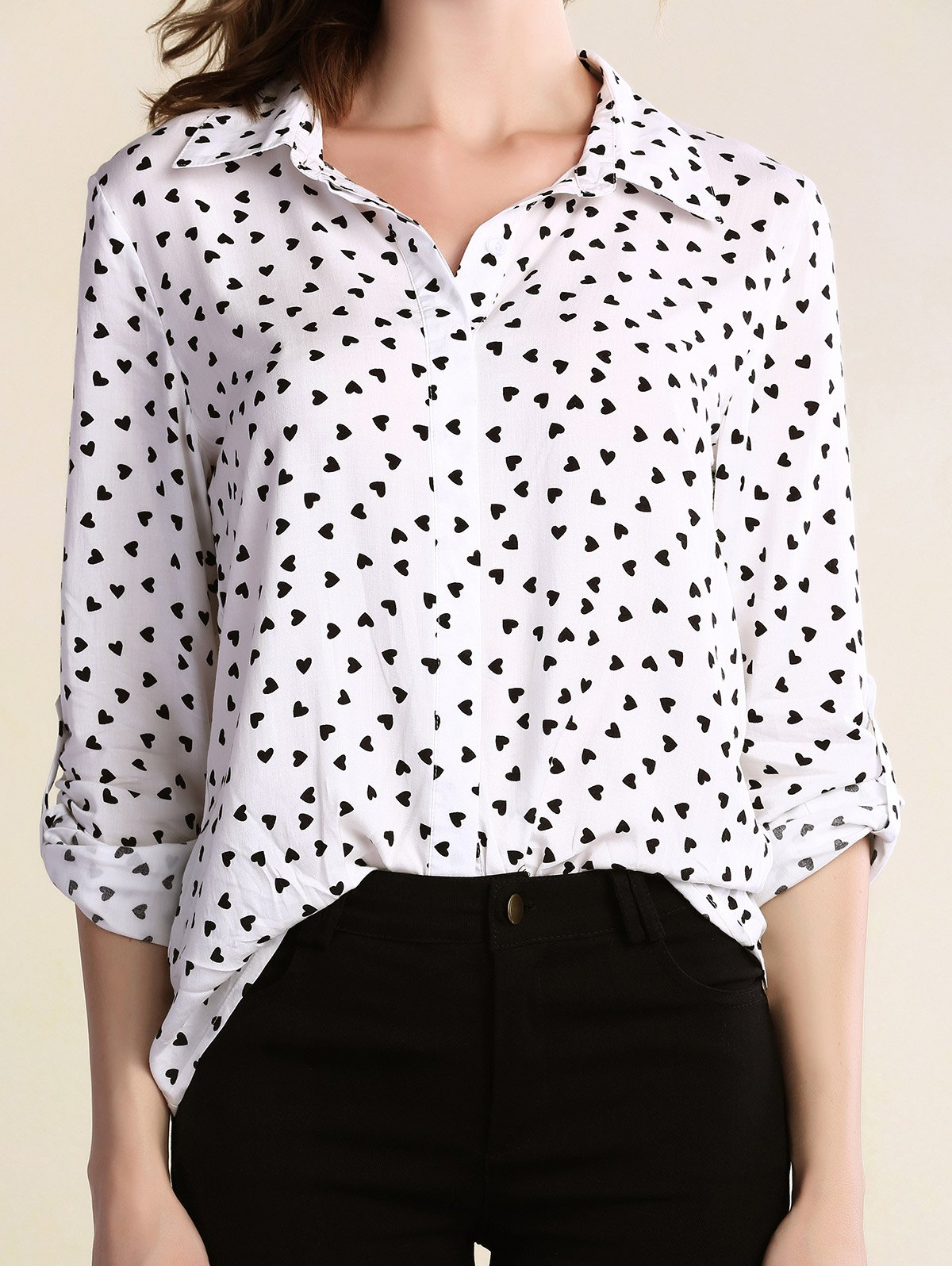 Turn Down Collar Long Sleeve Full Heart Print Shirt