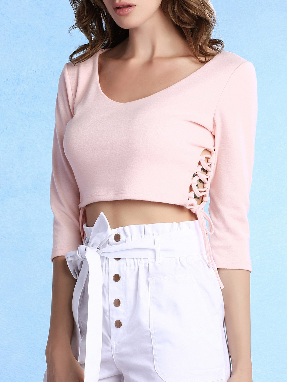 Scoop Neck 3/4 Sleeve Lace Up Cropped T-Shirt