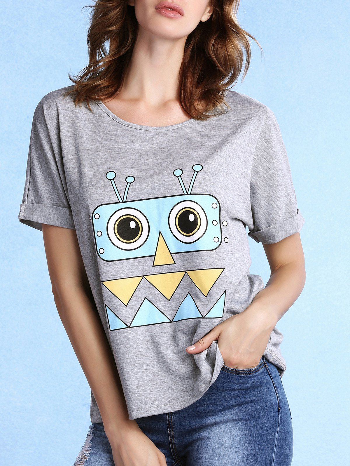 Round Neck Rolled Sleeve Cartoon Print Grey T-Shirt