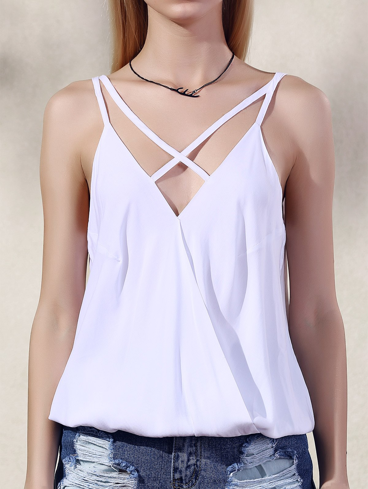 Spaghetti Straps Solid Color Tank Top