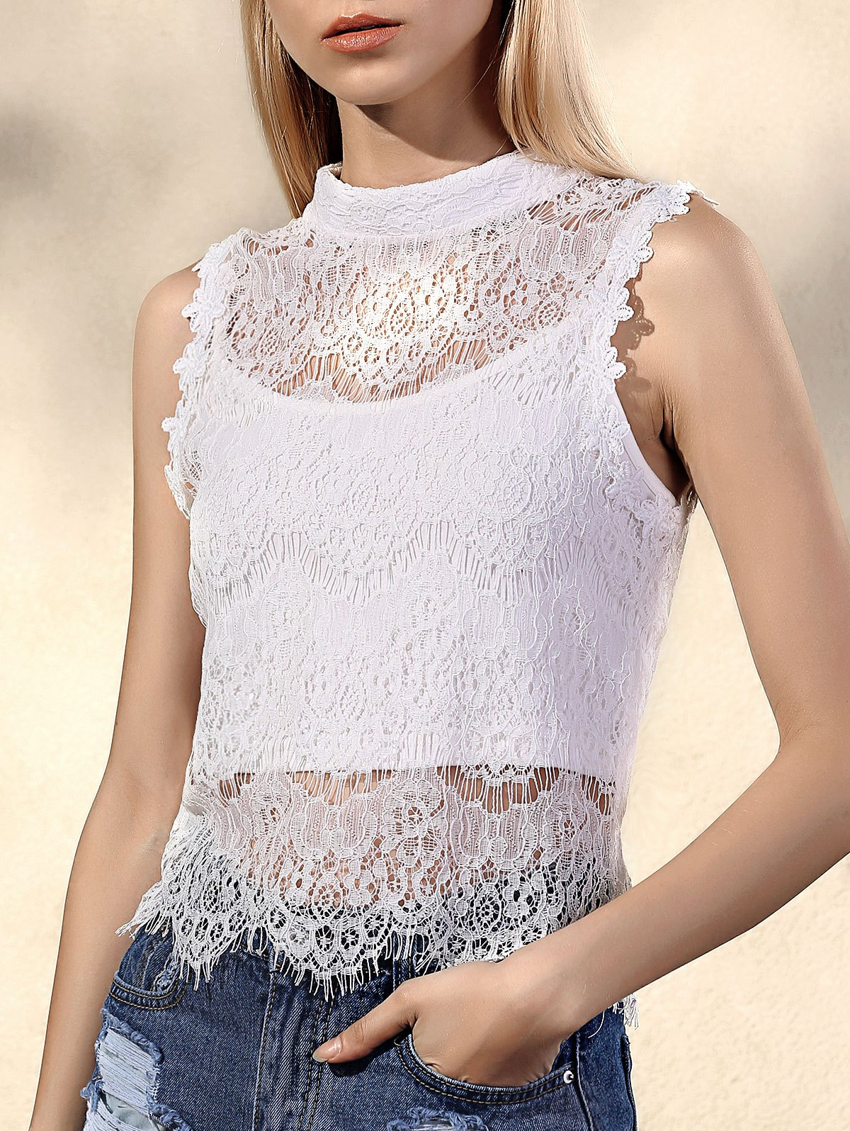 Scalloped Lace Tank TopClothes<br><br><br>Size: M<br>Color: WHITE